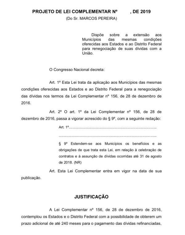 Projeto de Marcos Pereira quer estender a municípios renegociação de dívidas com União