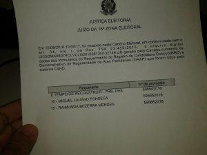 Entrega de documentação foi feita juntamente com o pedido de registro de 43 candidaturas de vereadores, 10 pelo PRB