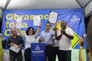 Rogéria Santos participa da assinatura para requalificação de praça em Paripe