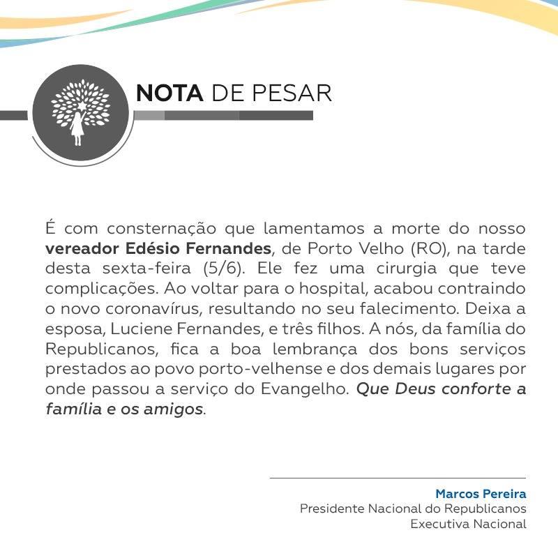 Falecimento do vereador Edesio Fernandes
